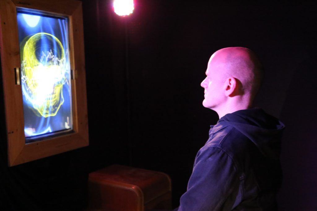 The Magic Mirror in use by a viewer at the Gray Area Artist's Salon Showcase, November 20-21, 2019.