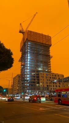 Shots of San Francisco on September 9th, 2020. Wild fires raging around the city have turned the sky red.